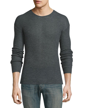 Textured Knit Drop-Sleeve Crewneck Sweater, Graphite