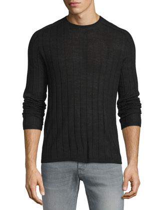 Wide-Rib Crewneck Sweater, Black