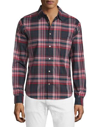 Slim-Fit Plaid Sport Shirt, Dutch Blue