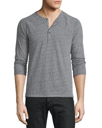 Raglan-Sleeve Henley Shirt, Black