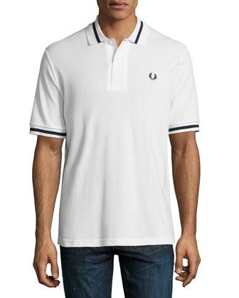 Tipped Short-Sleeve Polo Shirt, White