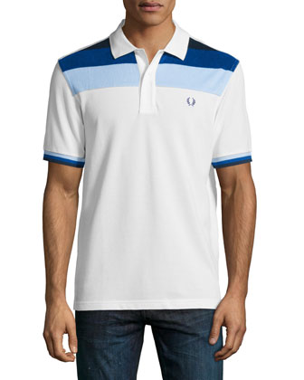 Contrast-Panel Pique Polo Shirt, White Pattern