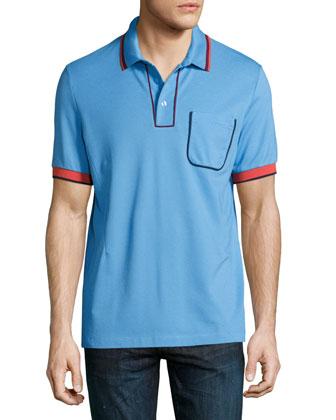 Tipped Short-Sleeve Polo Shirt, Blue