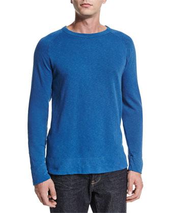 Vintage Raglan-Sleeve Pullover Sweater, Blue