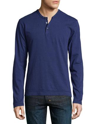 Washington Suvin Long-Sleeve Henley Shirt, Navy