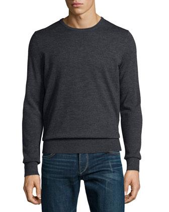Quincy Crewneck Wool Sweater, Dark Gray