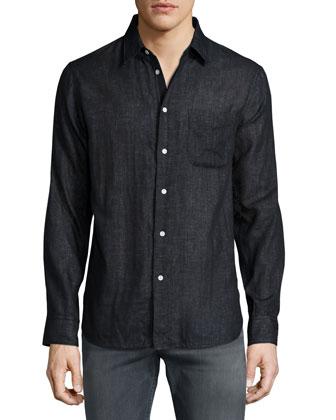 Beach Long-Sleeve Shirt, Black