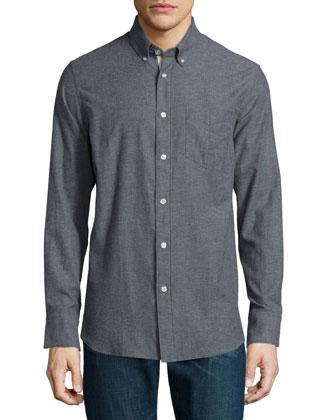 Standard Issue Flannel Button-Down Shirt, Dark Gray