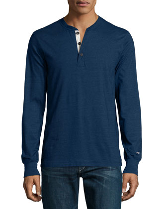 Standard Issue Long-Sleeve Henley Shirt, Indigo