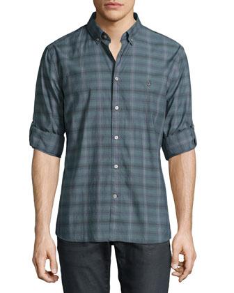 Plaid Roll-Tab Sleeve Shirt, Dark Gray