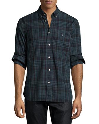 Deep Sea Plaid Roll-Tab Sleeve Shirt, Blue
