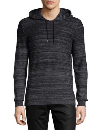 Ombre Long-Sleeve Hoodie, Black