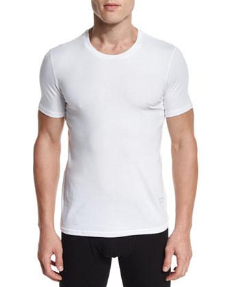 Modal-Cotton Crewneck Short-Sleeve Tee, White