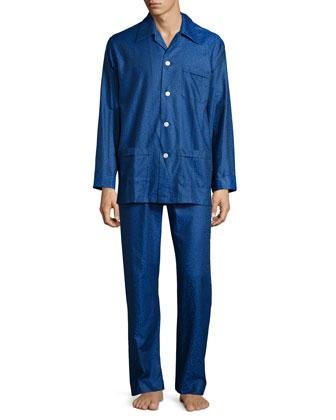 Sapphire Paisley-Print Pajama Set, Blue