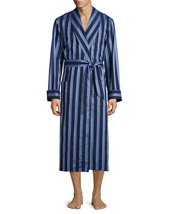 Striped Cotton Wrap Robe, Blue