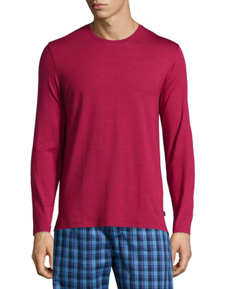 Solid Long-Sleeve Jersey Lounge Tee, Ruby