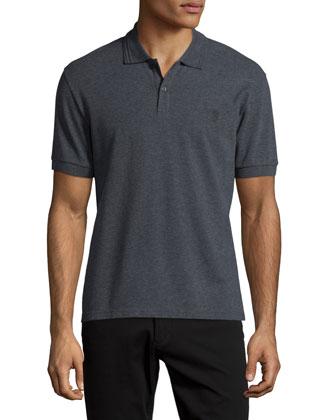 Pique Skull-Logo Polo Shirt, Medium Gray