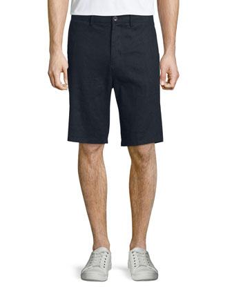 Flat-Front Linen Shorts, Coastal
