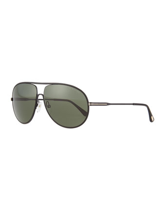 Cliff Matte Aviator Sunglasses, Black