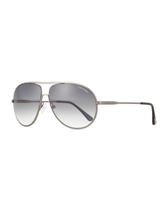 Cliff Shiny Metal Aviator Sunglasses, Silver