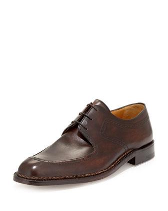 Amedeo Testoni Washed Leather Oxford, Dark Brown