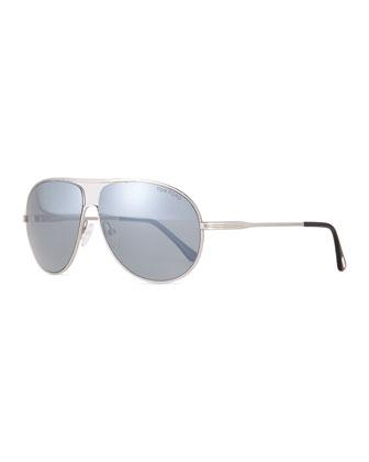 Cliff Light Ruthenium Aviator Sunglasses, Silver