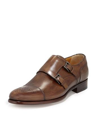 New Stadium Leather Double-Monk Shoe, Dark Brown