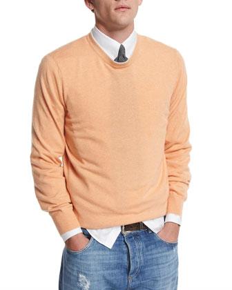 Tipped Crewneck Cashmere Sweater, Mango/Fog