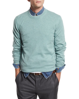 Tipped Crewneck Cashmere Sweater, Mint/Fog