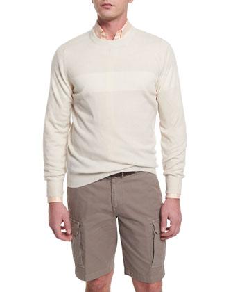 Tonal-Stripe Cashmere Crewneck Sweater, Fog/Vanilla