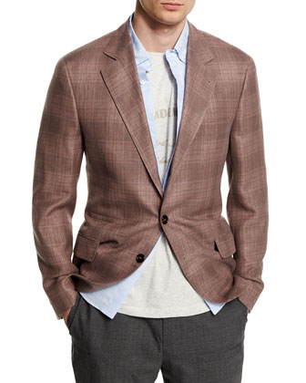 Plaid Linen-Blend Two-Button Blazer, Grape