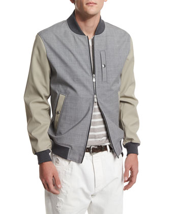 Mixed-Media Bomber Jacket, Oyster/Gray