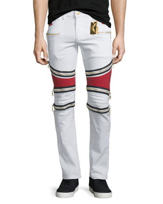 Contrast-Panel Moto Denim Jeans, White