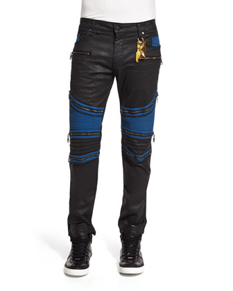 Racer Contrast-Panel Coated Moto Jeans, Black