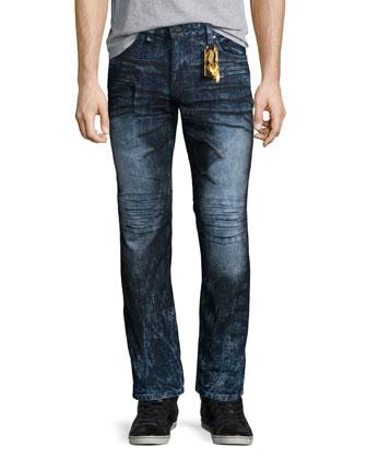 Motard Dyed Moto Jeans, Dark Blue