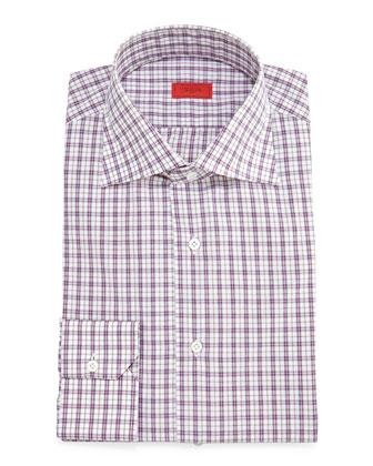 Check Long-Sleeve Dress Shirt, Plum/Olive