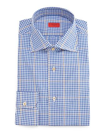 Gingham-Windowpane Dress Shirt, Blue