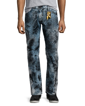 Paint-Splatter Denim Jeans, Black