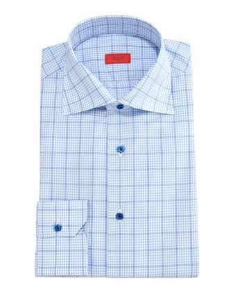 Gingham Box-Check Dress Shirt, Light Blue