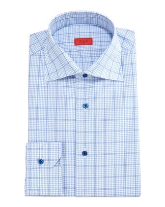 Gingham Box-Check Dress Shirt, Light Blue