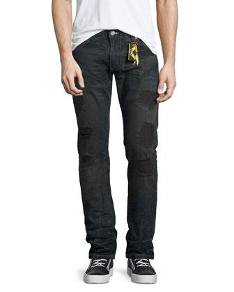 Five-Pocket Denim Jeans with Stamped-Detail, Blue