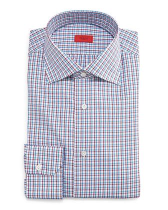 Check Button-Down Dress Shirt, Blue/Red