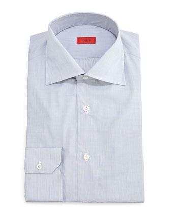 Solid Button-Down Dress Shirt, Light Gray