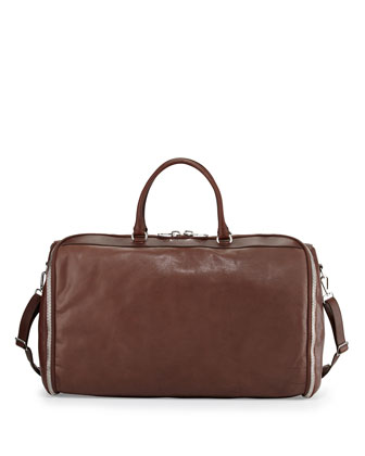 Roll-Up Leather Garment Bag, Brown