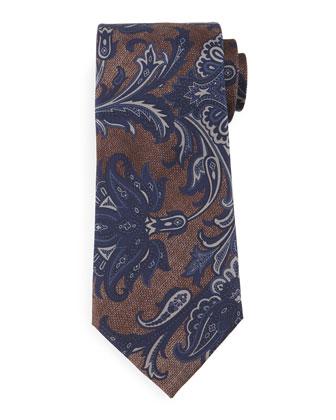Large Paisley-Print Silk Tie