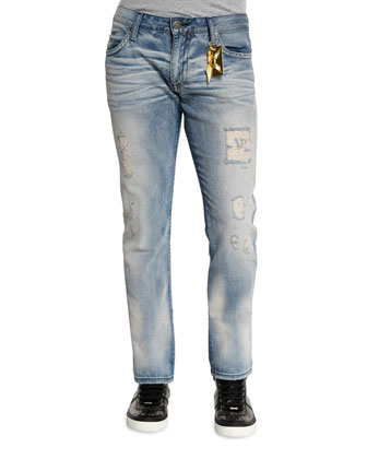 Studded-Pocket Distressed Denim Jeans, Silver