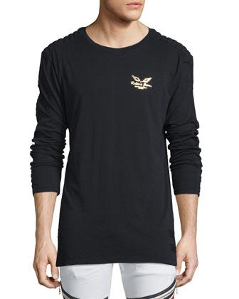 Gold Foil Logo-Print Long-Sleeve T-Shirt, Black