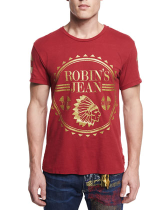 Large Logo-Print Short-Sleeve Tee, Red