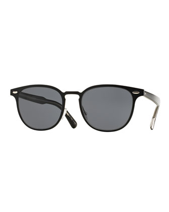 Sheldrake 54 Metal Sunglasses, Black