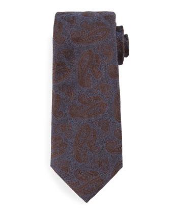 Tonal Paisley-Print Silk Tie, Blue/Brown